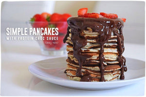 Simple Pancakes with Protein Choc Sauce