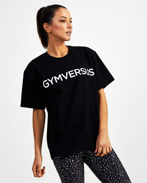 Big Logo Superset Oversized Cotton Tee - Black - GYMVERSUS