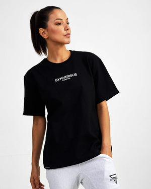 Small Logo Superset Oversized Cotton Tee - Black