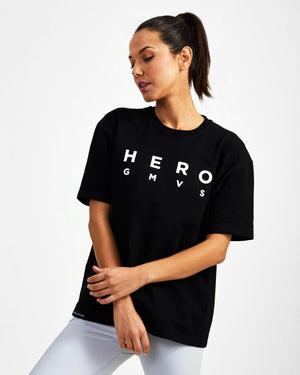 Hero Superset Oversized Cotton Tee - Black - GYMVERSUS