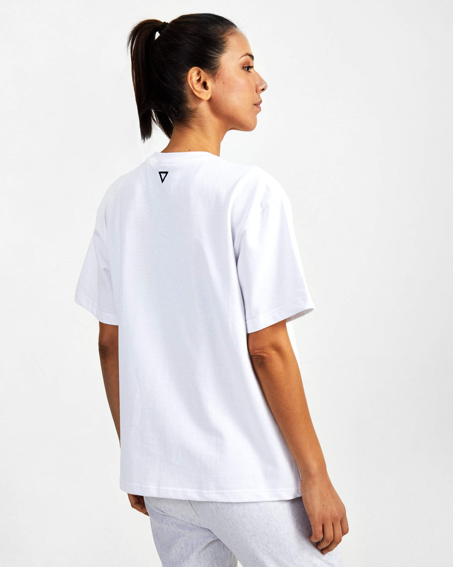 Small Logo Superset Oversized Cotton Tee - White - GYMVERSUS