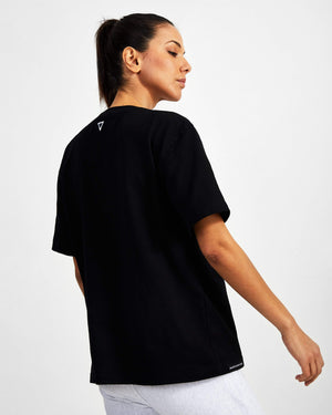 Small Logo Superset Oversized Cotton Tee - Black - GYMVERSUS