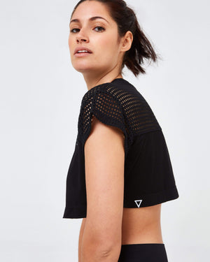 Mesh Crop Top - Black - GYMVERSUS