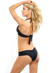 Halter black push up swimsuit top
