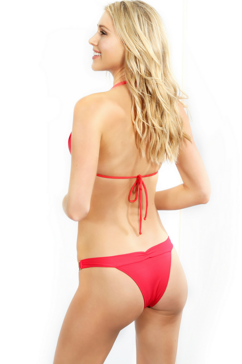 Red Brazilian Cut Bikini bottoms