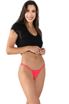 red Brazilian string bikini underwear with lace. Women's cheeky panties