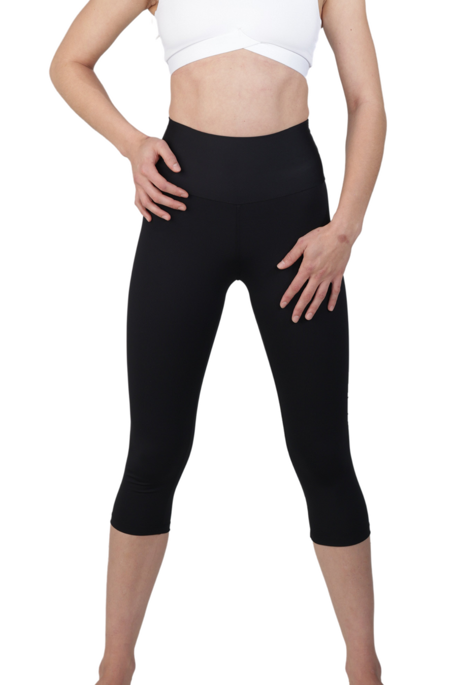 black high waist cellulite reducing cropped legging