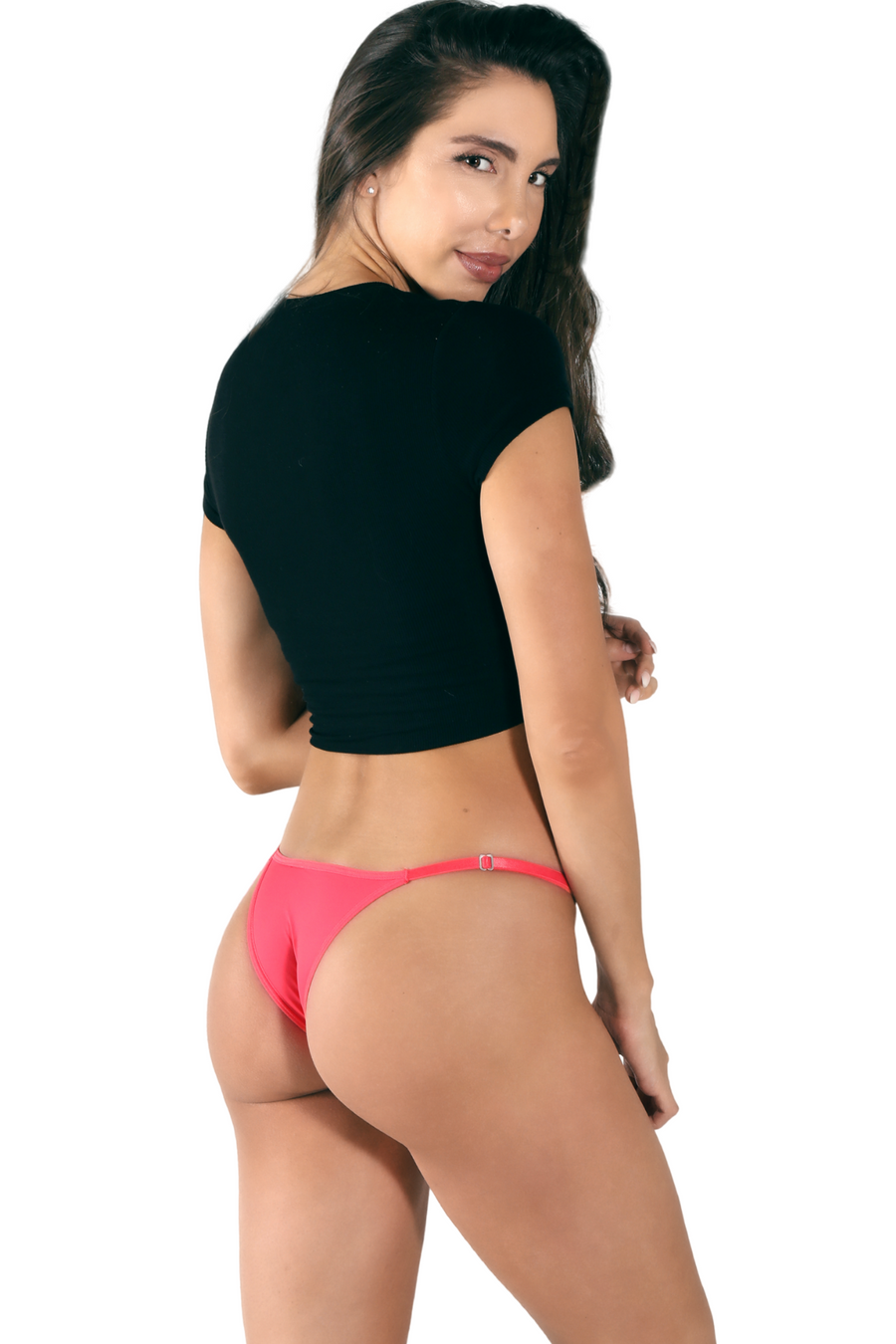 red Brazilian string bikini underwear. Women's cheeky panty