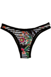 REGINA BLACK STRIPED FLORAL Brazilian Tanga Panty