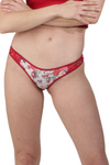 red lace butterfly print Brazilian panty underwear