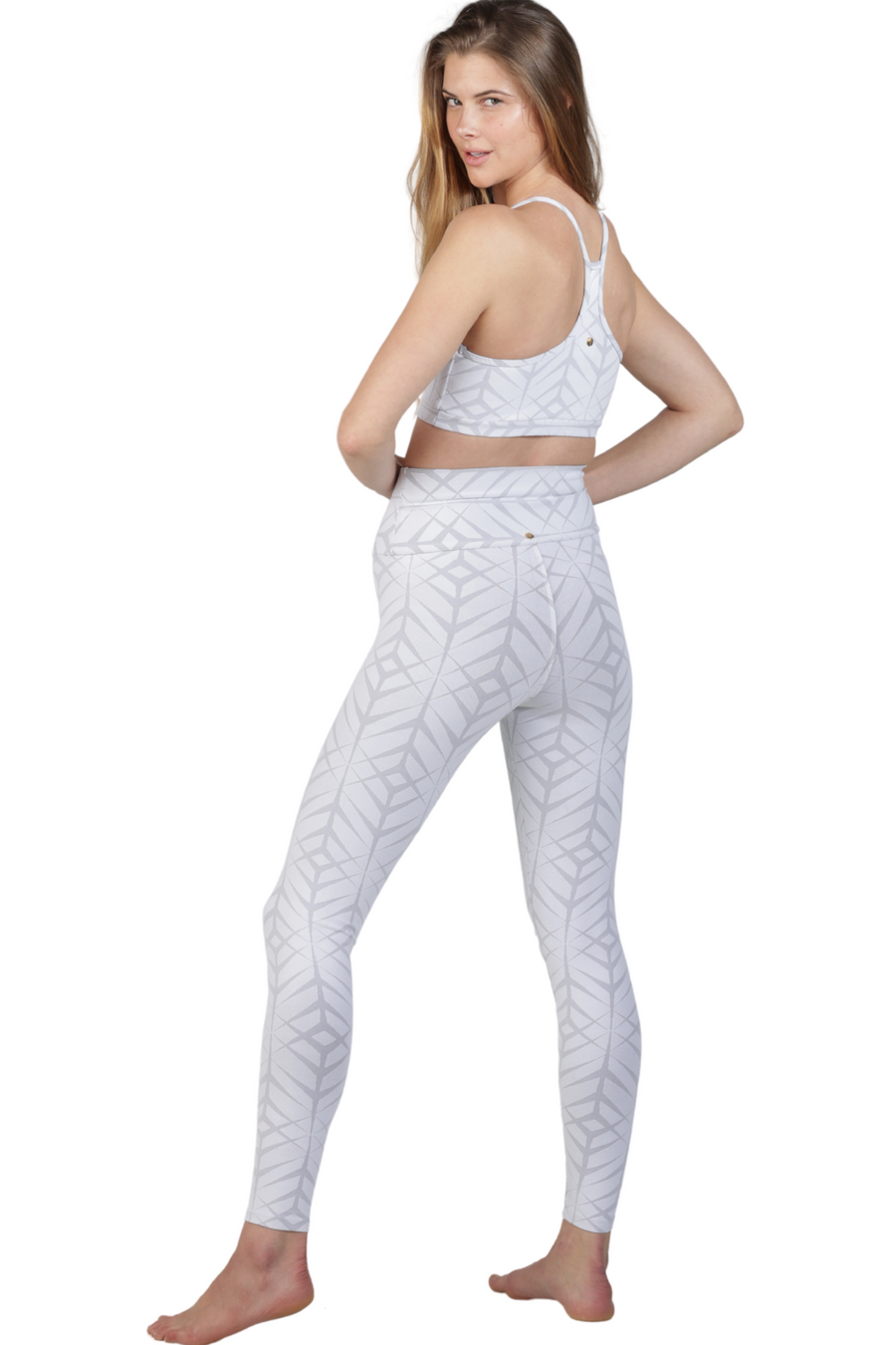 white jacquard high waist long legging activewear