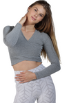 long sleeve mixed grey cross over activewear top