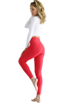 Red High Waist V Fold Waistband Legging