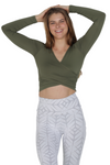 long sleeve army green activewear cross over crop top activewear