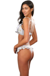 ANYA WHITE RAINFOREST Ruffles Thong Bikini Bottoms