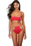 High Waist Red Hot Panty Swimsuit Bottom With Mesh Cutouts