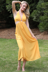 long halter yellow summer dress with loop