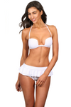 White Cheeky Swimsuit Bottoms With Ruffles