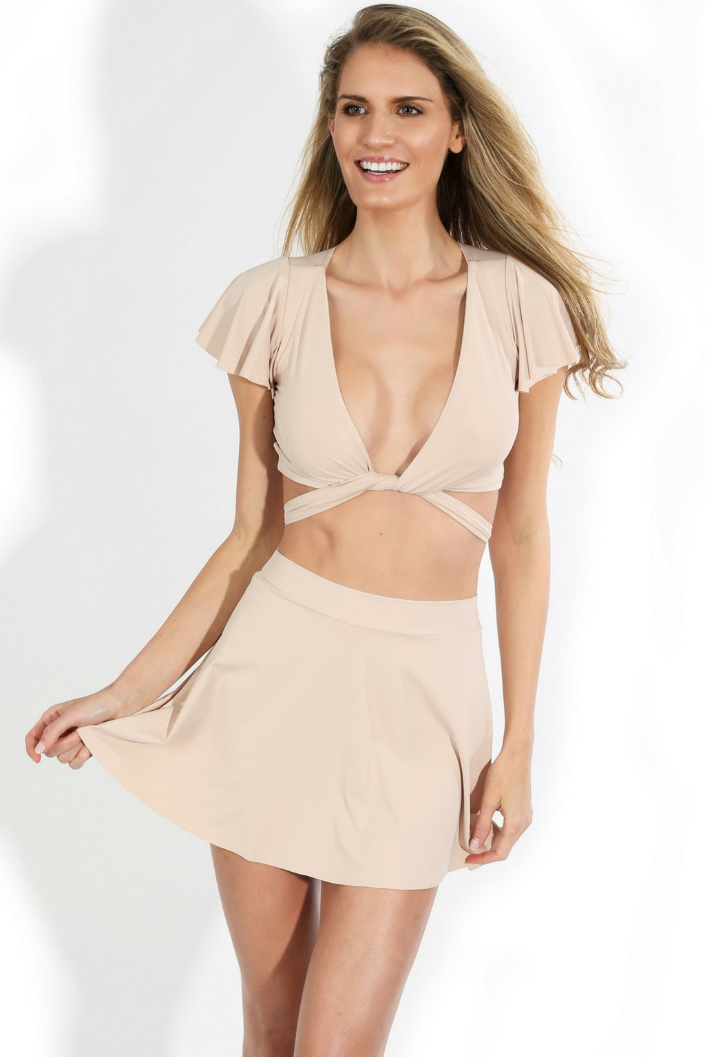 Nude High Waist Skater Skirt Brazilian