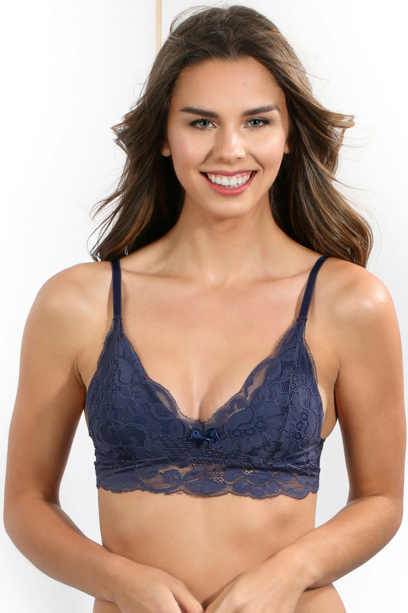 Navy Lined lace bralette