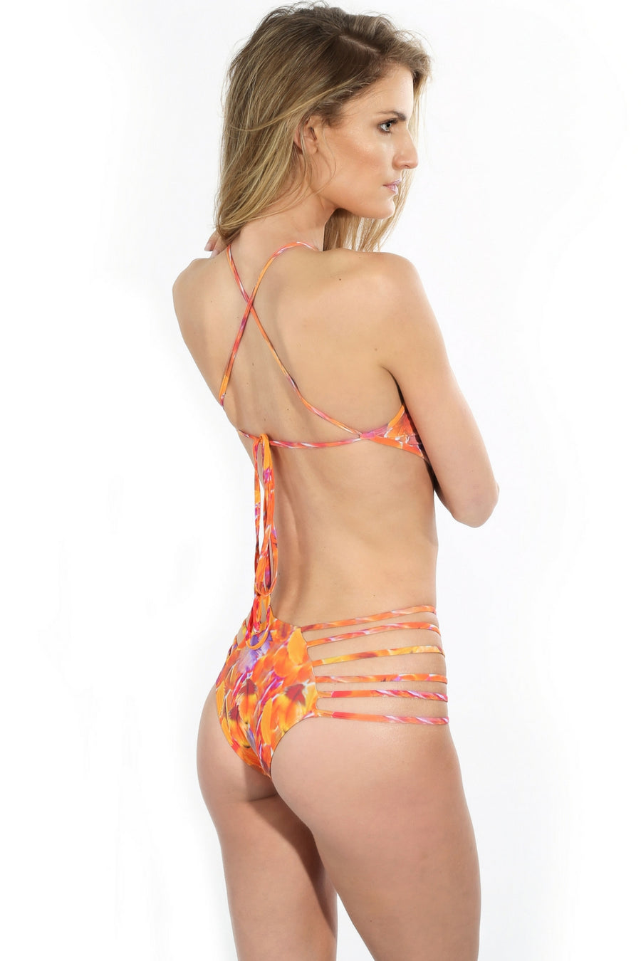 orange strappy adjustable one piece bathing suit