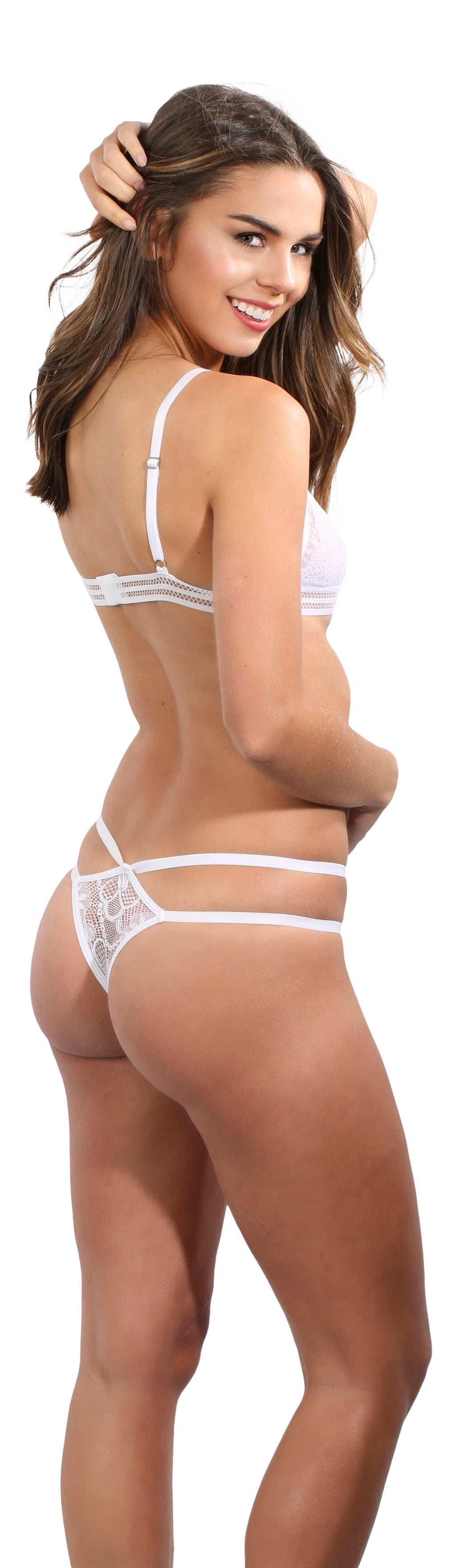 white lace strappy underwear adjustable string bikini panty