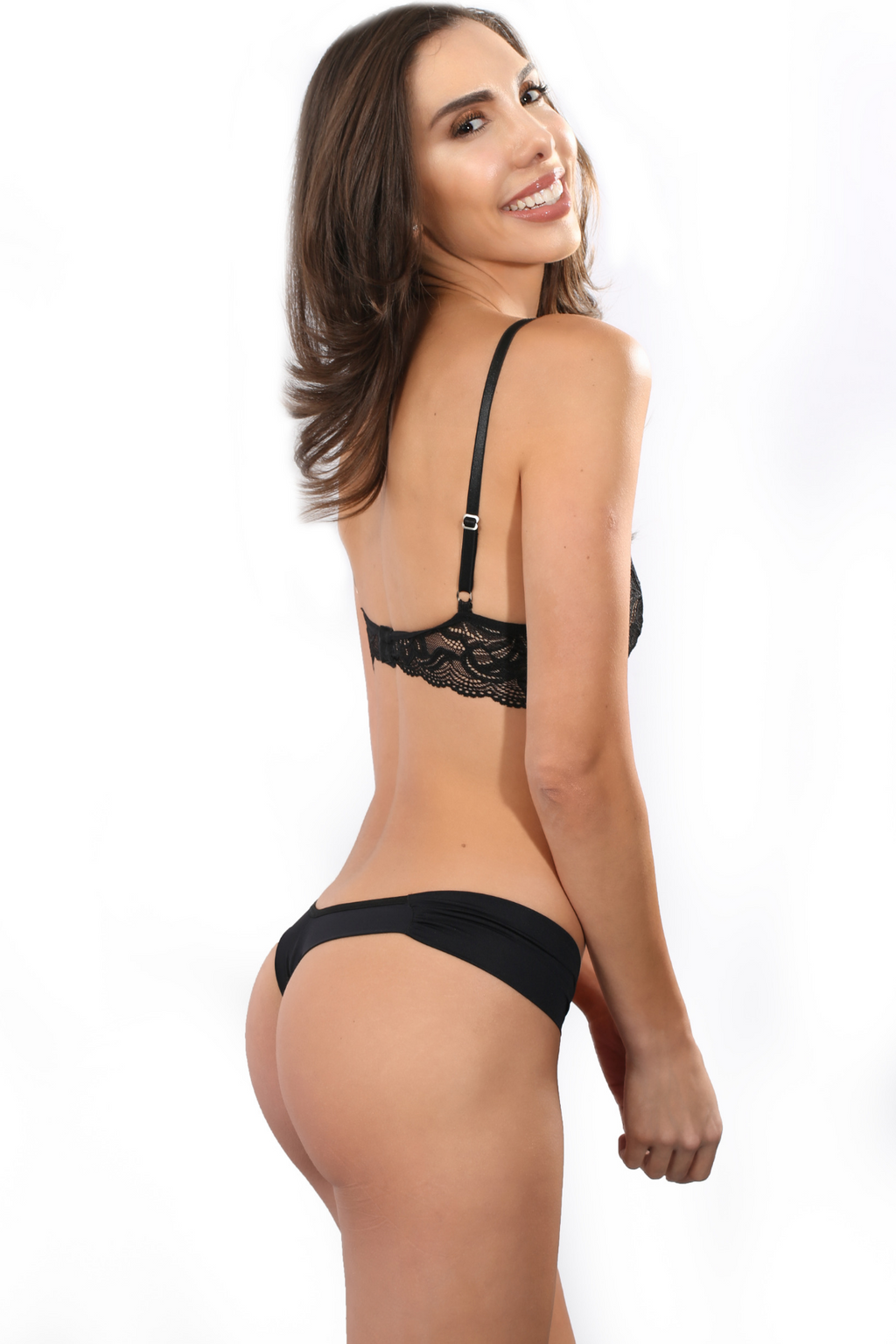 Black Brazilian Thong Panty with side Ruching