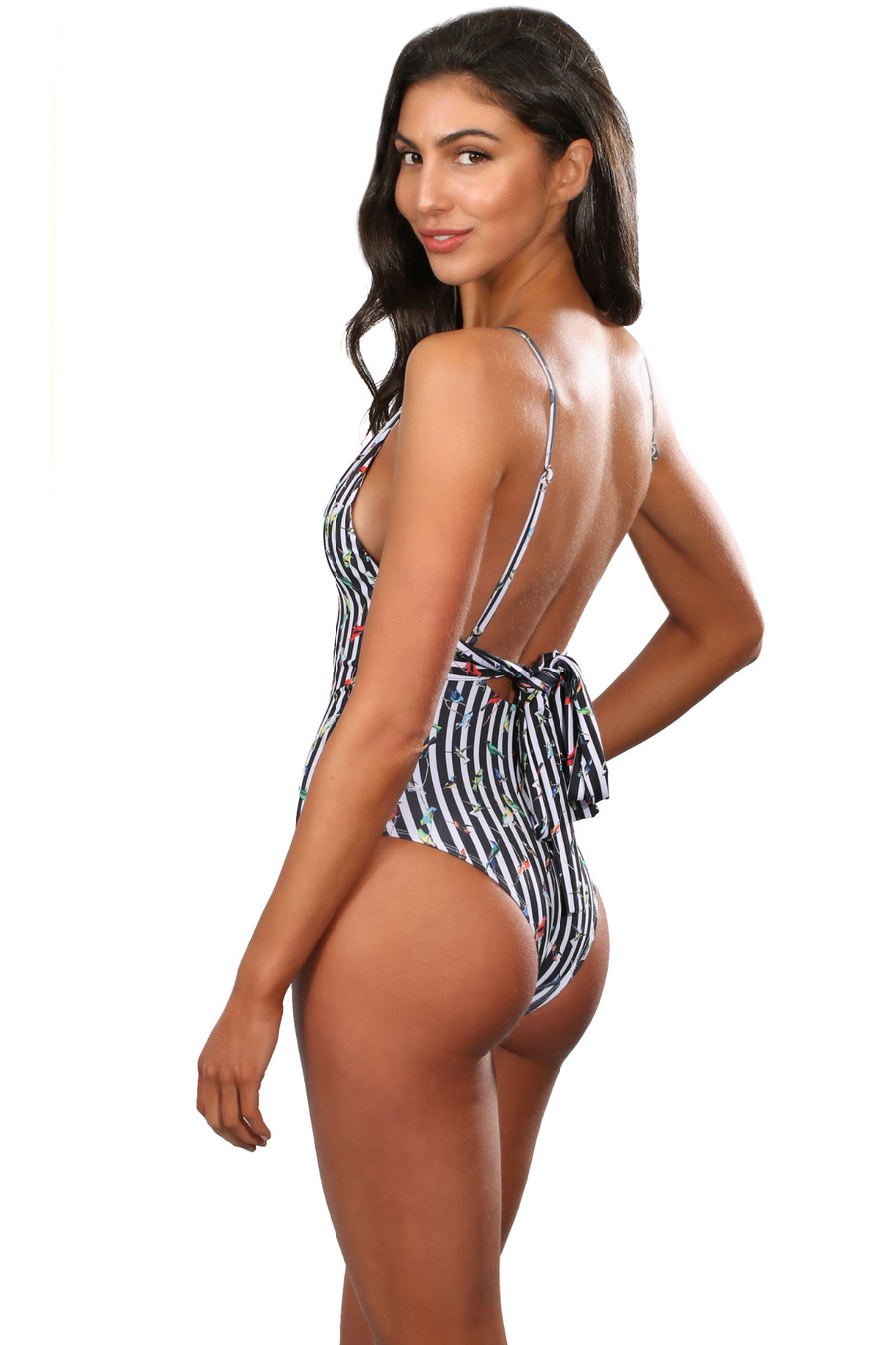 V Neck Brazilian Cut One Piece Swimsuit Adjustable