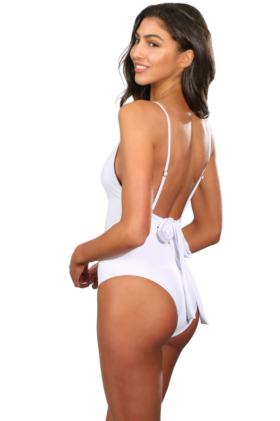White Brazilian V Neck One Piece Swimsuit