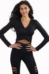 Black Athleisure Long Sleeve V Neck Top