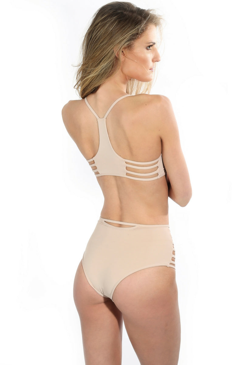 Racerback Nude Strappy Swimsuit Top Mesh