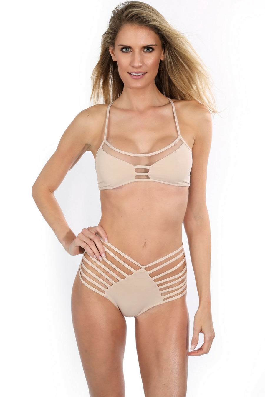 high waist nude strappy cut out bikini bottoms