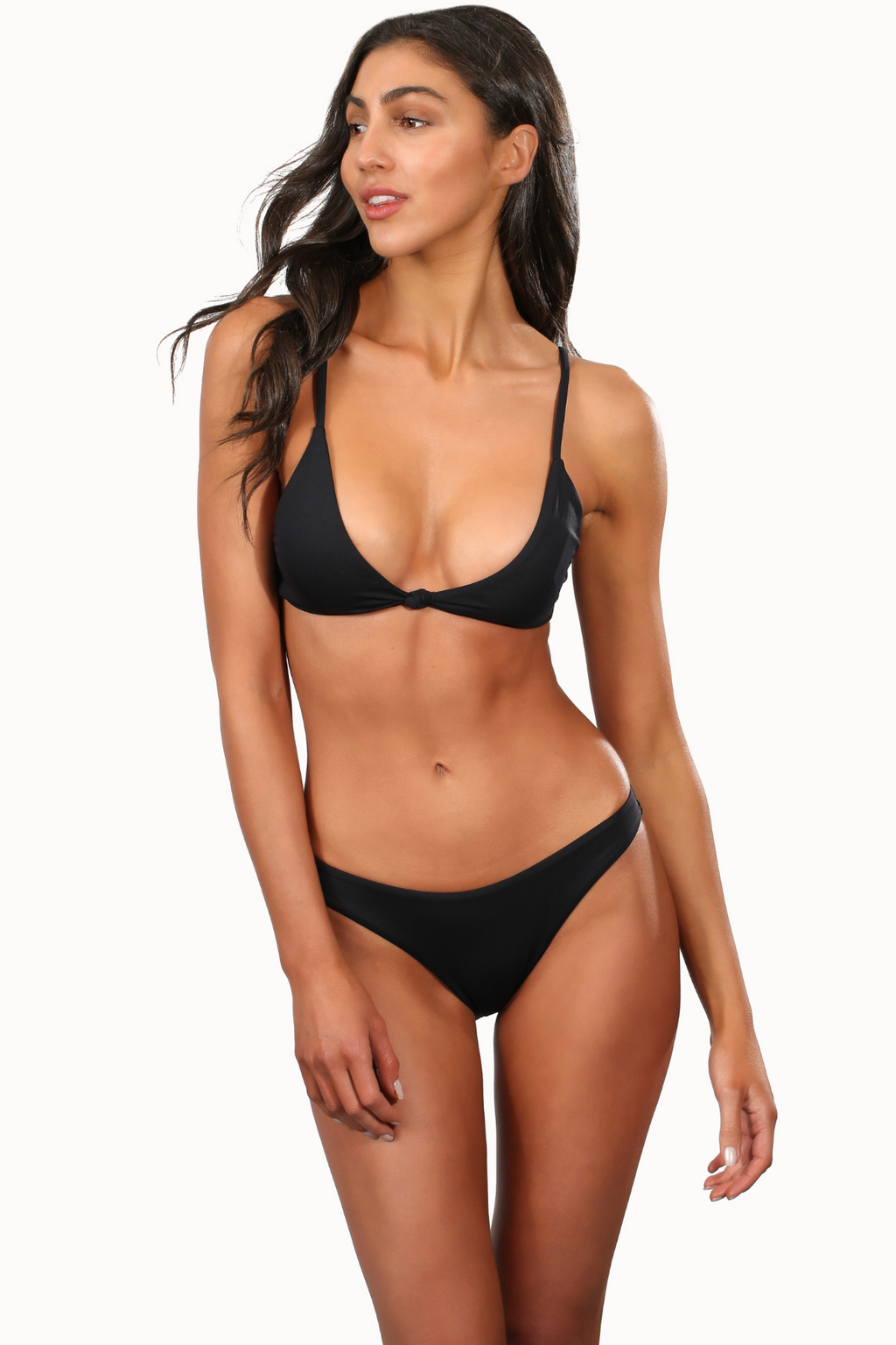 Black Brazilian Bikini Top With Knot Center
