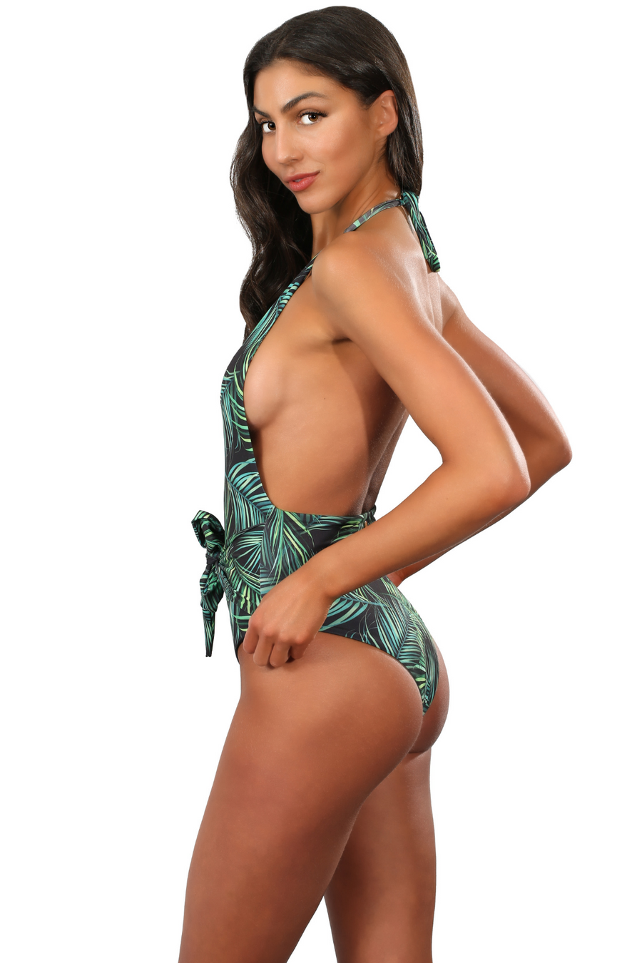 Halter Deep V Plunge Brazilian One Piece Swimsuit Palm Leaves Print