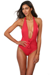 Red Brazilian Cut One Piece Bathing Suit With Front Tie