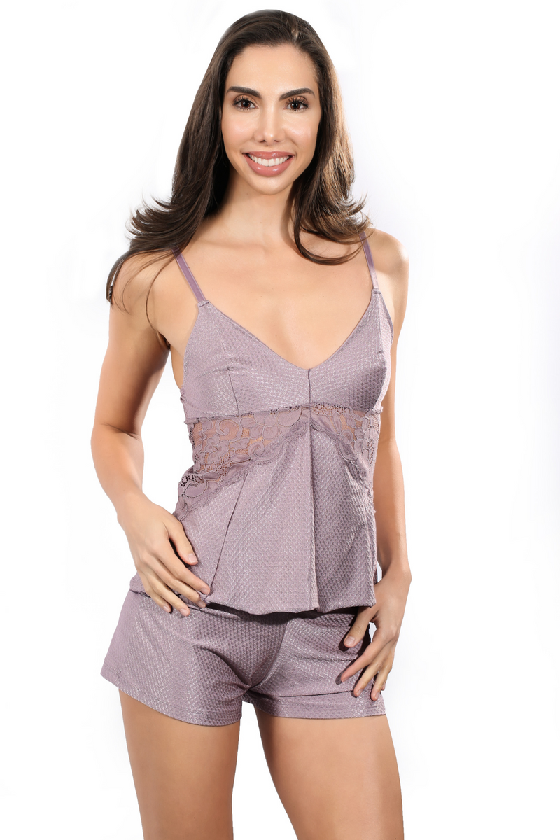 Pijama set with lace panels cami top and shorts