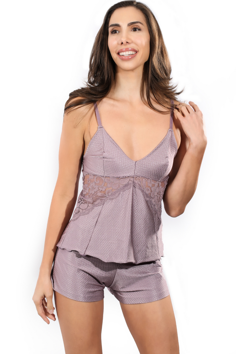 Pijama set with lace panels cami top and shorts satin