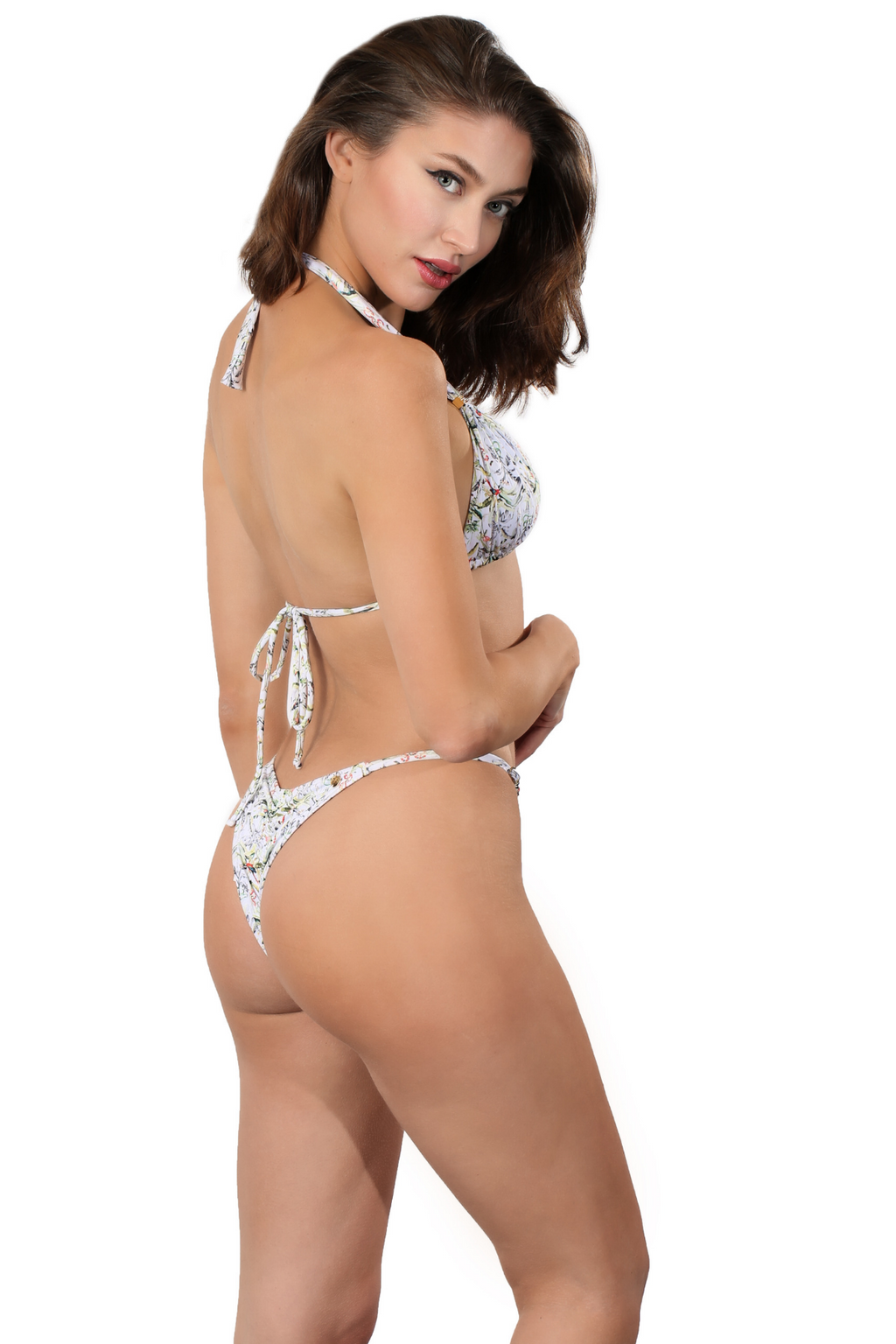 White Brazilian Ruched back seam Thong Bikini Bottom