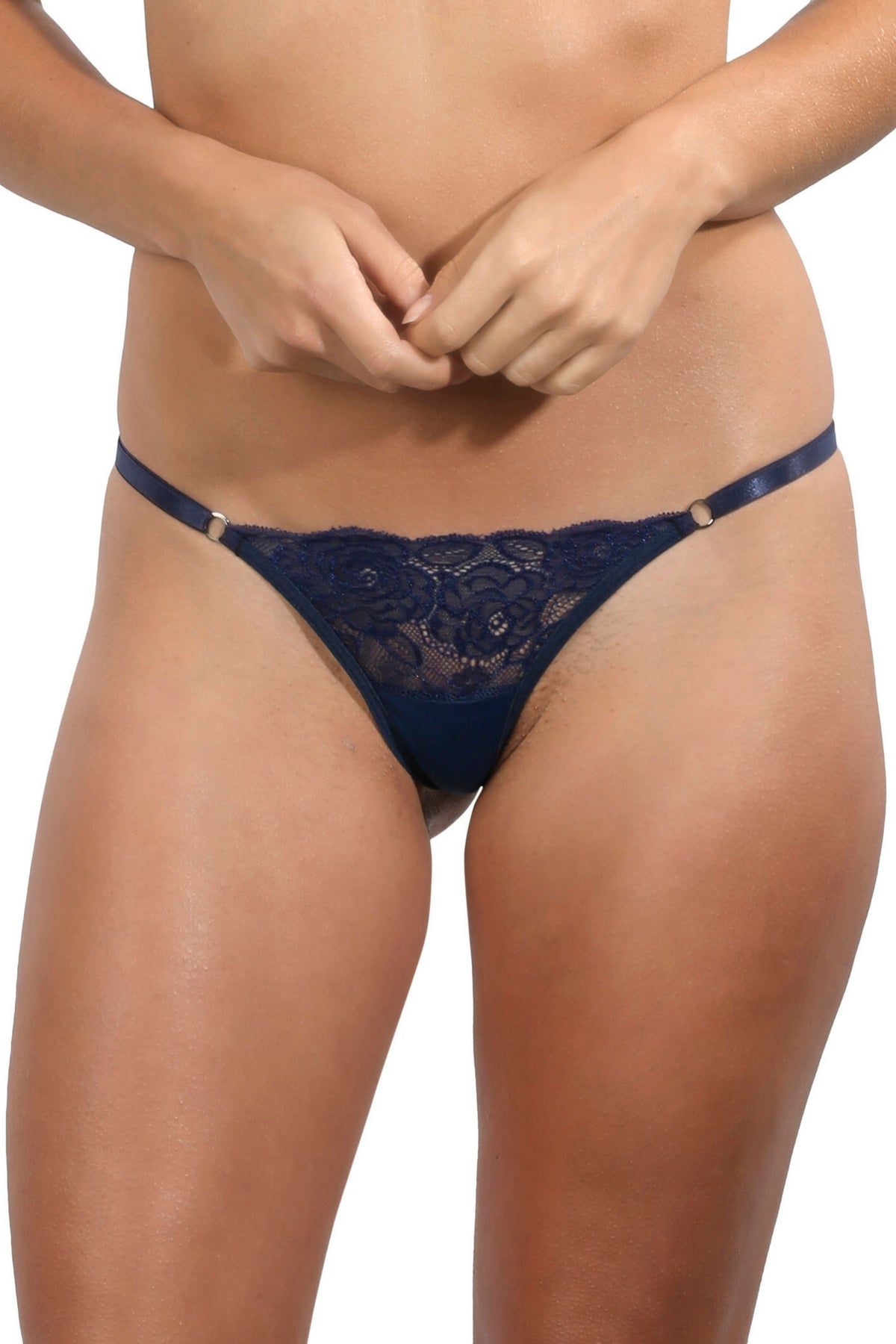 Navy Lace Thong String Underwear Women