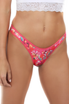 Red Floral Brazilian V Cut Underwear