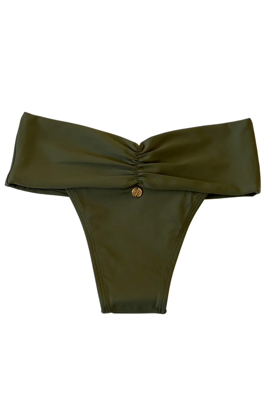 Brazilian ruched hipster bikini bottom army green
