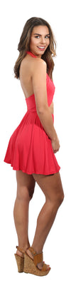 Red Beachwear Halter Wrap Dress High Waist
