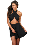 Black Criss Cross Beachwear Cover Up