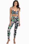 high waist legging tropical leopard print