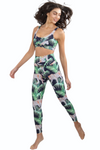 2 piece athleisure set sports bra tropical leopard print