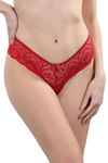 CHANEL LACE RED BRAZILIAN THONG PANTY