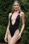 black deep v plunge Brazilian one piece swimsuit
