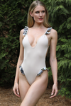 Nude Brazilian one piece swimsuit with ruffles. high cut swimwear