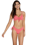 coral adjustable bikini top with scrunch v neck center