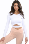 white long sleeve athleisure crop top